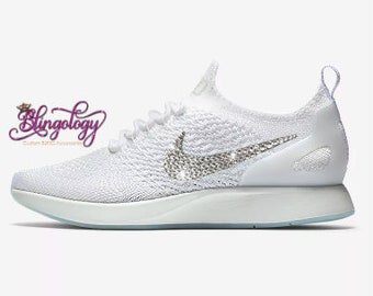 Womens Nike Air Zoom Mariah Flyknit Racer Sea White Summit White Pure  Platinum Swarovski Crystal Bling Sneakers 8325f953f
