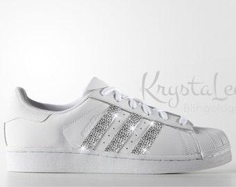 885877fd1e1 Custom Bling Womens Adidas Original Superstar White Swarovski Crystal Bling  Sneakers