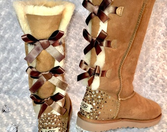 More colors. Bling Ugg Tall Bailey Bow Boots, Women's ...