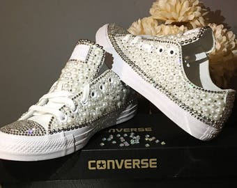 cd49ea34437a3 ... Custom Womens White Wedding Converse Bling and Pearls Sneakers  Swarovski Crystal Rhinestone Flat Shoes