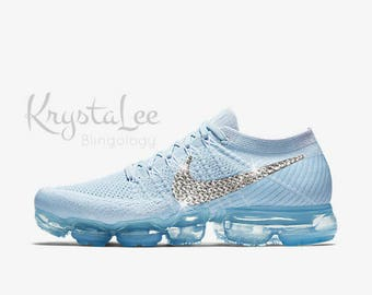 Womens Nike Air VaporMax Flyknit Blue White Platinum Custom Bling Crystal  Swarovski Sneakers c12c966d4