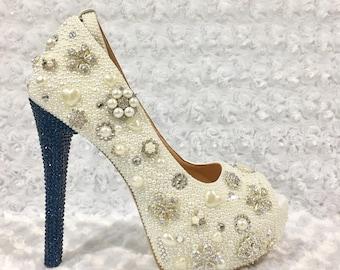 04b445f16abd5 Custom Womens Peep Toe Wedding Formal Swarovski Crystal Rhinestones    Pearls High Heel Bling Shoes