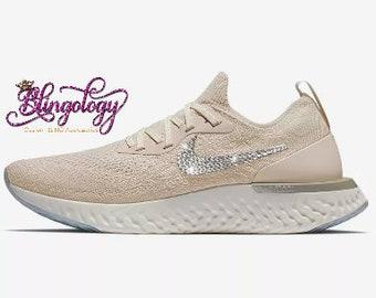 077b0c979ec Womens Nike Epic React Flyknit Light Cream Lemon Wash White Custom Bling  Swarovski Sneakers