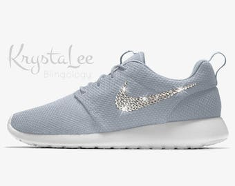 16a64e3e80b7 Womens Nike Roshe One Coral Stardust White Custom Bling