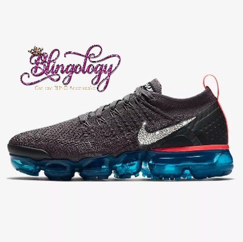 6d96860761329 Womens Nike Air VaporMax Flyknit 2 Grey Teal Black Custom