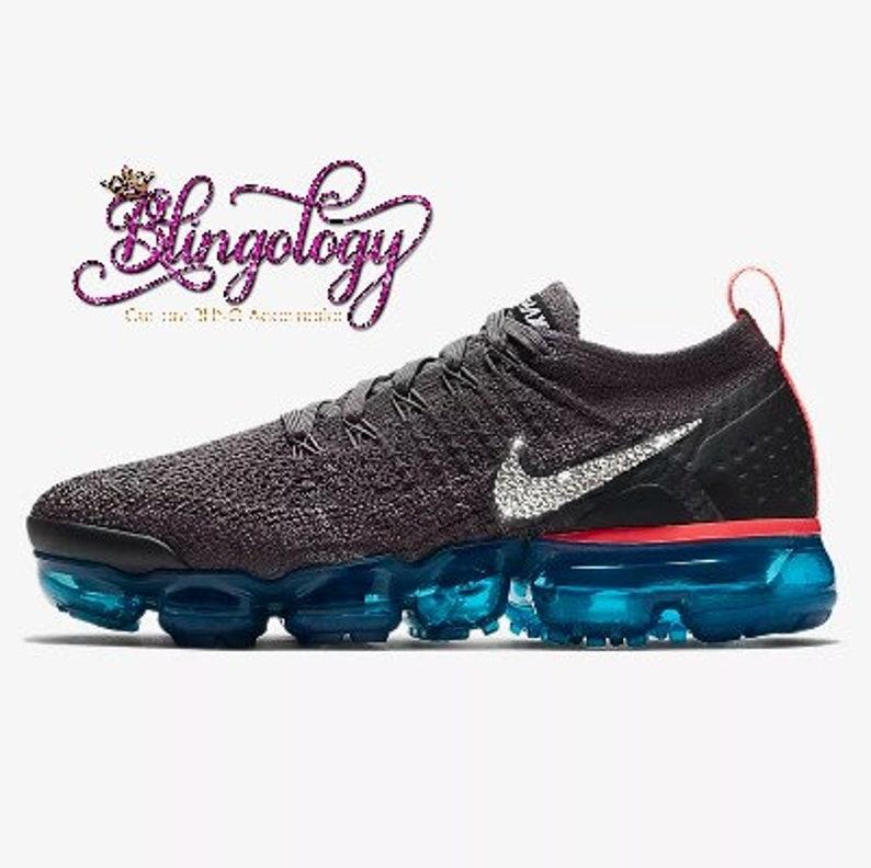 best website b02ac 5a213 Womens Nike Air VaporMax Flyknit 2 Grey, Teal, Black Custom Bling Swarovski  Sneakers Running Shoes, Tennis Shoes