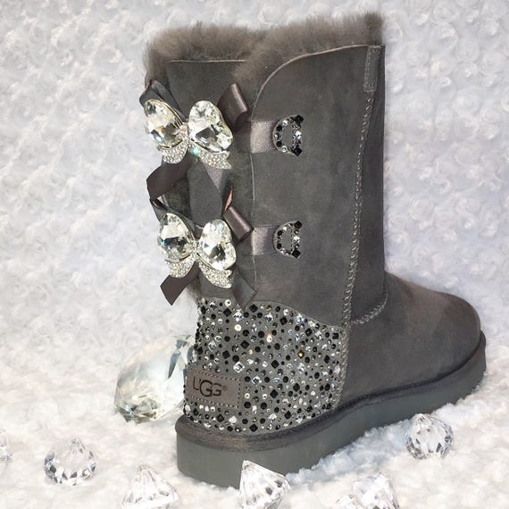 cbe414371c18 ... france bling ugg bailey bow ii womens custom grey ugg boots etsy e9c4d  26468