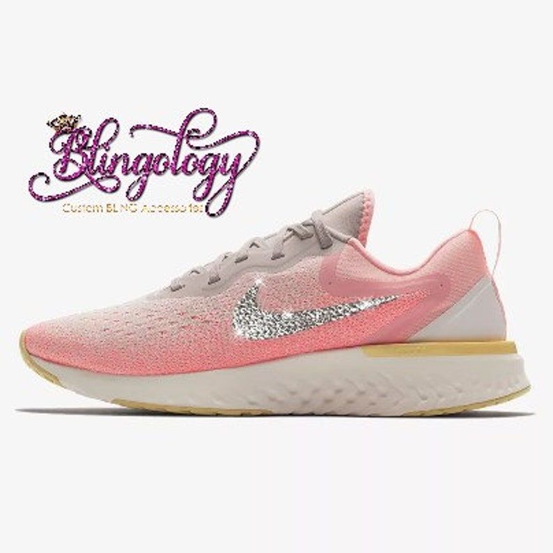 low priced c62a1 260b3 Womens Nike Odyssey React Pink, Sand, Sail Custom Bling Swarovski Sneakers,  Running Shoes, Tennis Shoes