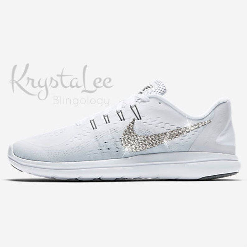 4fc2070b45aba Womens Bling Nike Flex Run 2017 White Grey Silver Custom