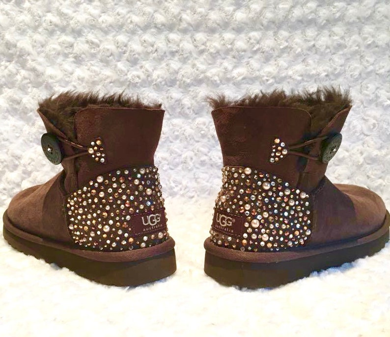 28a82b3e8a3 Bling Ugg Bailey Button Mini Boots, Women's Custom Black Ugg Boots Crystal  Bling Australian Fur Boots, Snow Boots, Bling Boots