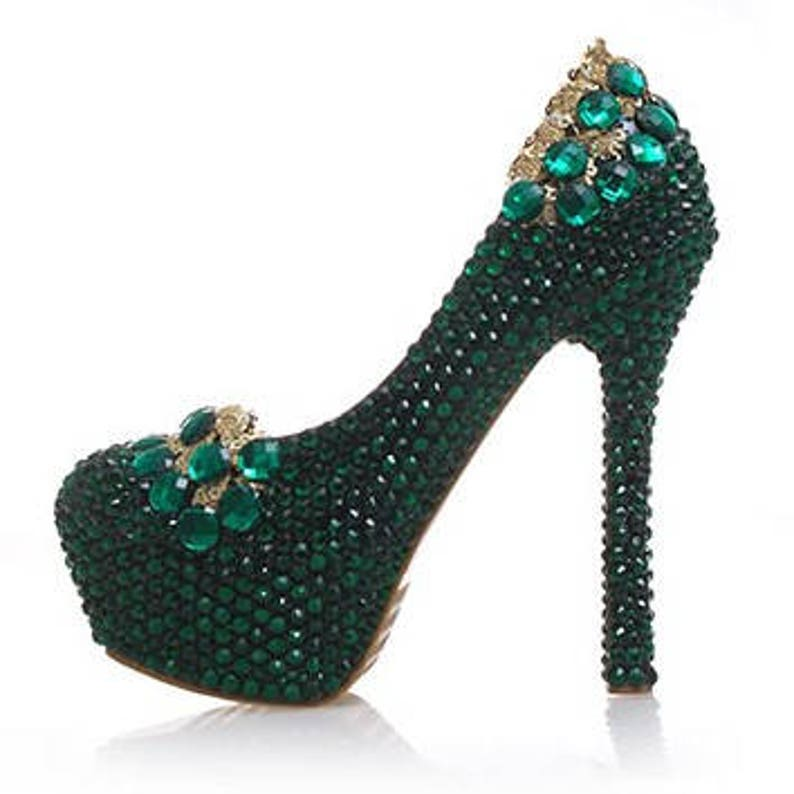226986cabccc Custom Womens Wedding Shoes Formal Emerald Green Gold Flower