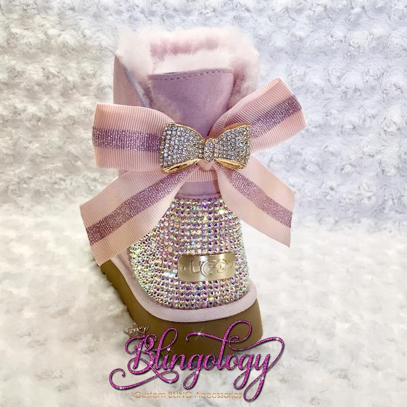 7293f864b4c Bling Ugg Mini Bailey Bow, Women's Custom Seashell Pink Ugg Boots Swarovski  Crystal Bling Australian Fur Boots, Snow Boots, Bling Boots