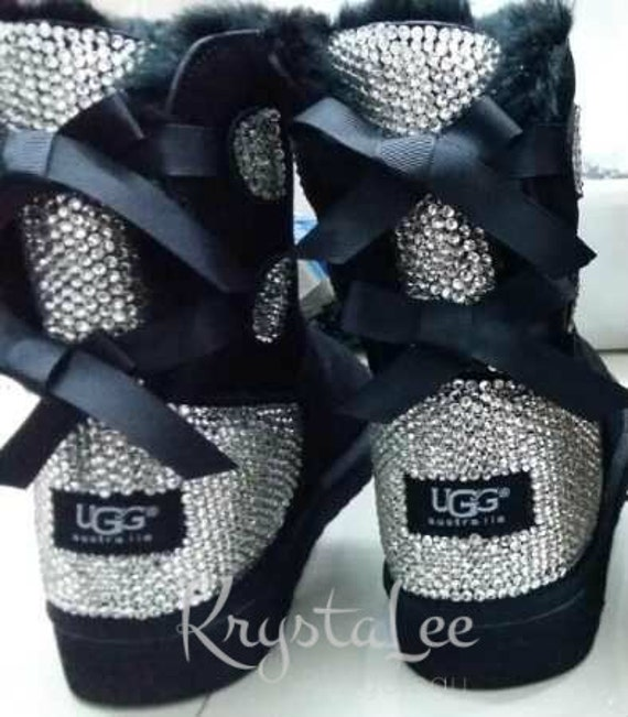 7a4956709002 Bling Ugg Bailey Bow Women s Custom Black Ugg Boots