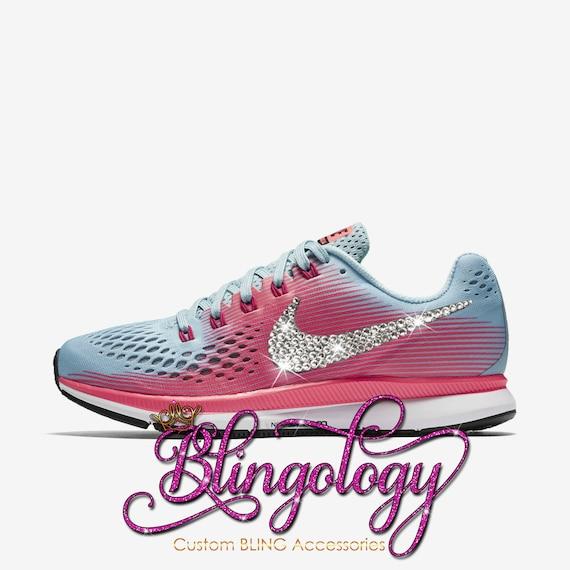 Womens Nike Air Zoom Pegasus 34 Mica Blue White Pink Custom  20a9e1082