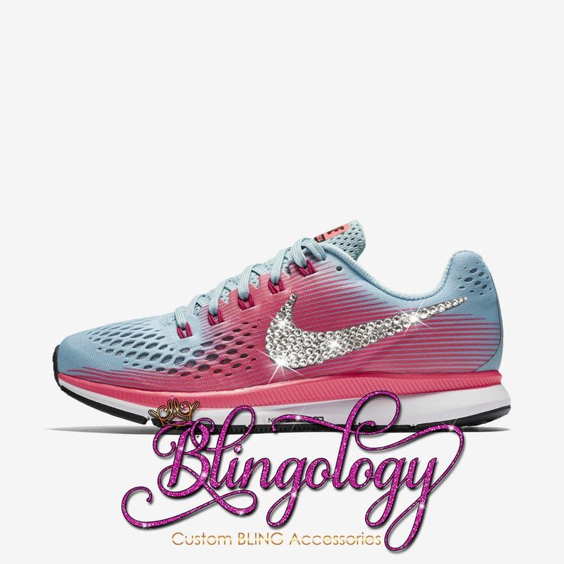 b902b082488b6 Womens Nike Air Zoom Pegasus 34 Mica Blue White Pink Custom