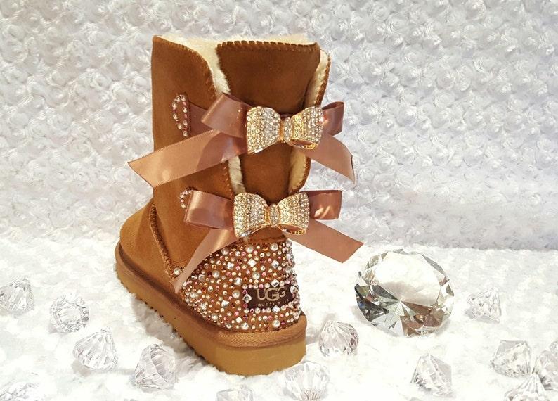 449c87479f5b Bling Ugg Bailey Bow II Women s Custom Chestnut Ugg Boots
