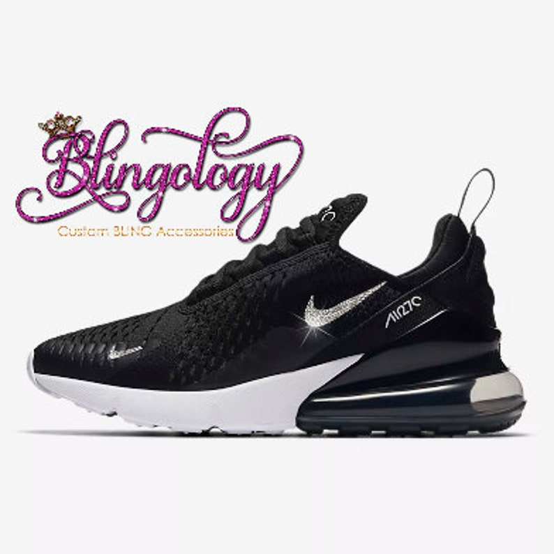 Womens Nike Air Max 270 Black White Custom Bling Crystal  7033954596d0