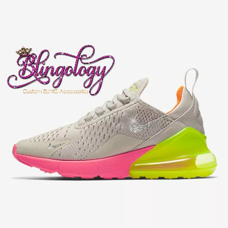 Womens Nike Air Max 270 Sand Volt Orange Hot Punch Custom  603d387993