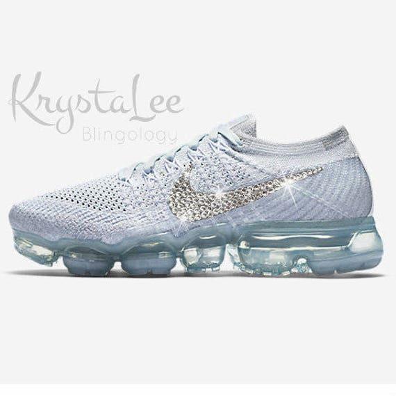 Womens Nike Air VaporMax Flyknit Platinum White Grey Custom  f8b2c44232