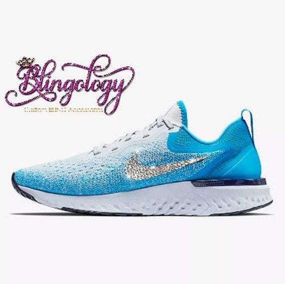 4c404586c8e04 Womens Nike Odyssey React Blue Grey Custom Bling Swarovski