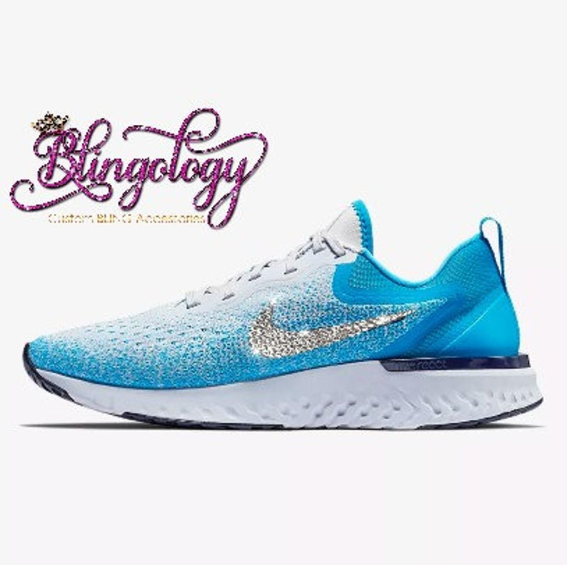 8a39854e90dc Womens Nike Odyssey React Blue Grey Custom Bling Swarovski