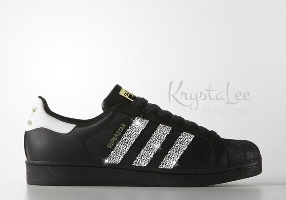 Adidas Black Gold Running Originals Superstar Ii Bling