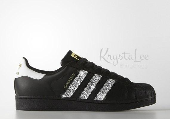 Custom Bling Womens Adidas Original Superstar Black Swarovski Crystal Bling Sneakers, Running Shoes, Tennis Shoes, Nikes