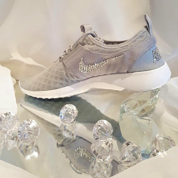 Custom Bling Womens Nike Juvenate Grey White Swarovski  20fe2ac3cb