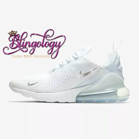 Womens Nike Air Max 270 White Custom Bling Crystal Swarovski Sneakers 9b94ba231