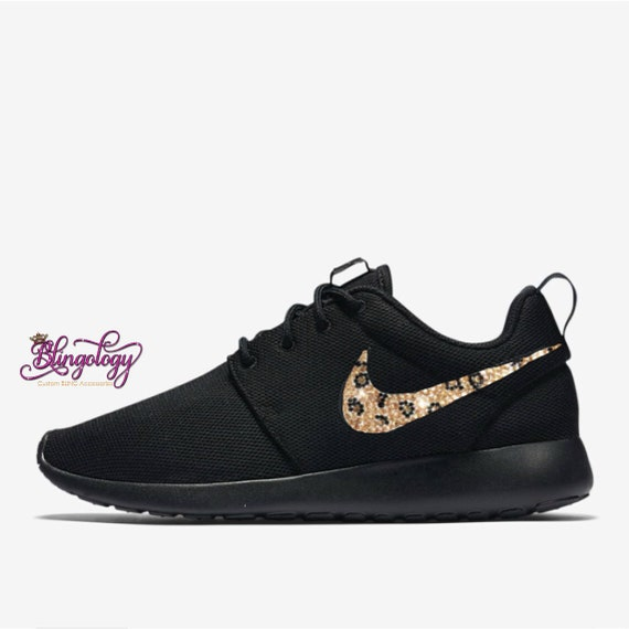 buy popular 29999 7279d Womens Nike Roshe One Black with Leopard Crystal Swoosh Custom   Etsy