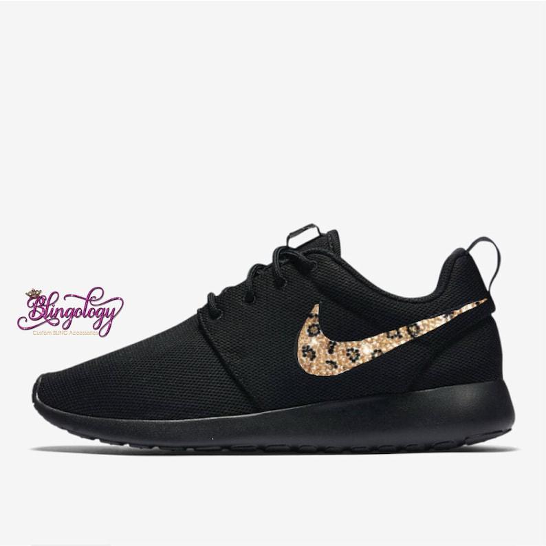 546675bc5602 Womens Nike Roshe One Black with Leopard Crystal Swoosh Custom