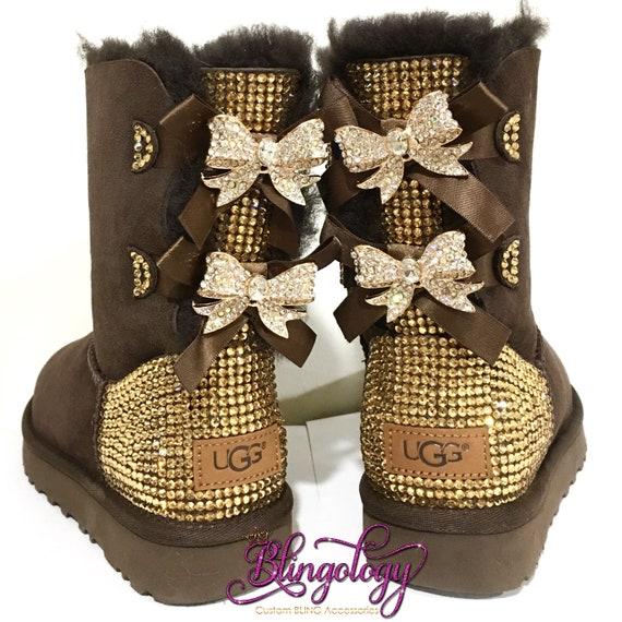 Bling cristaux Swarovski personnalisé Bailey Bow II haut Ugg bottes Ugg des femmes avec des arcs de cristal