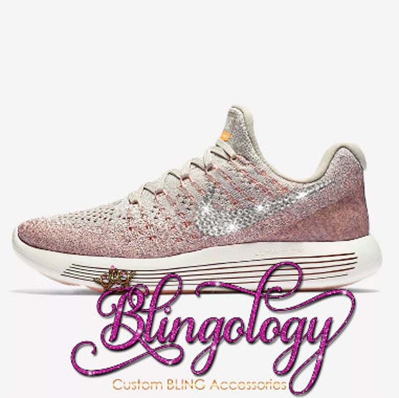 eed0c795c2b Custom Bling Womens Nike LunarEpic Low Flyknit 2 Taupe