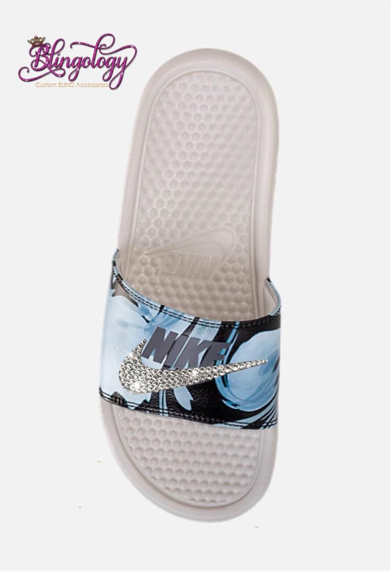 4911ee63407ac7 Nike Benassi Slides Sandals Light Bone Light Carbon Custom