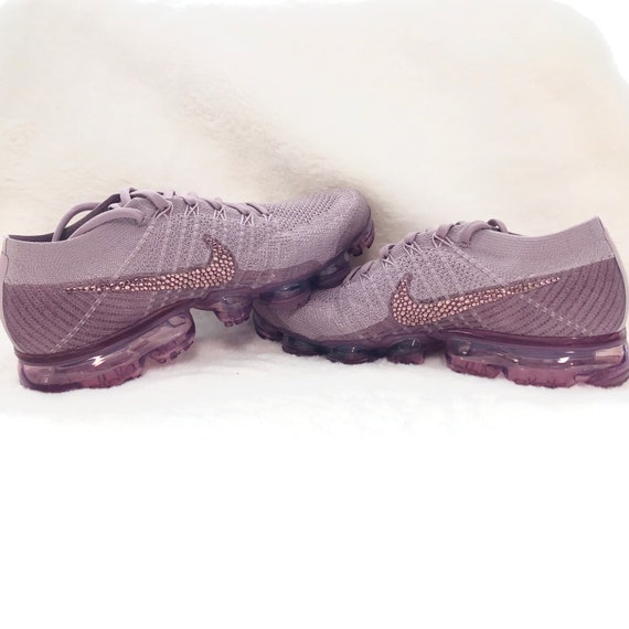 Womens Nike Air VaporMax Flyknit Violet, Plum, Dust Custom Bling Crystal Swarovski Sneakers, Running Shoes, Tennis Shoes, Nikes Size 9.5 US