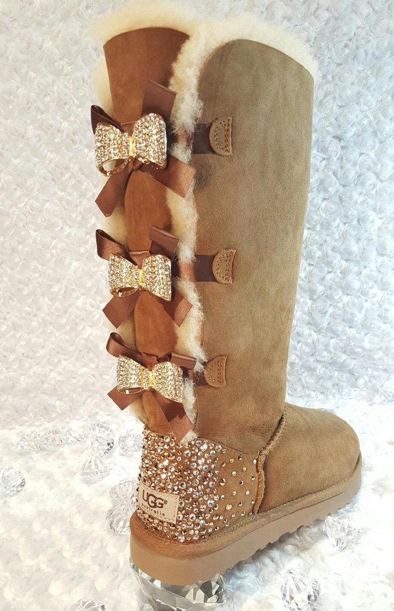 dfe506a94ab Bling Ugg Tall Bailey Bow Boots, Women's Custom Chestnut Ugg Tall Boots  Swarovski Crystal Bling Australian Fur Boots, Snow Boots, Bling