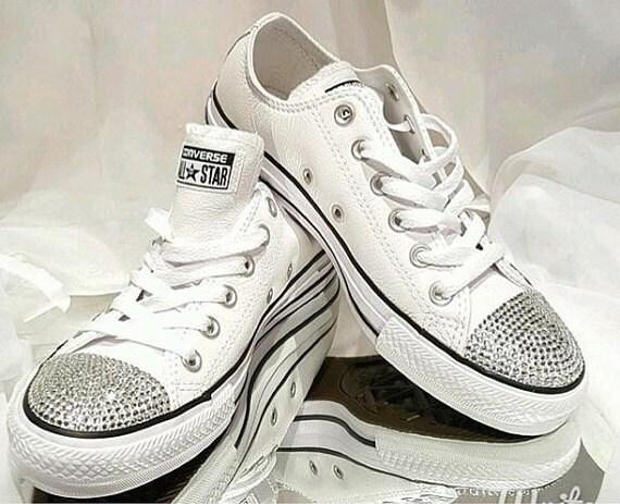 bc5c1760678 Custom Womens White Wedding Converse Sneakers Swarovski