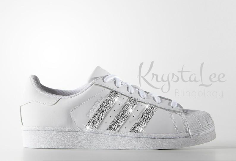 Custom Bling Womens Adidas Original Superstar White Swarovski  d7190c24cdc0