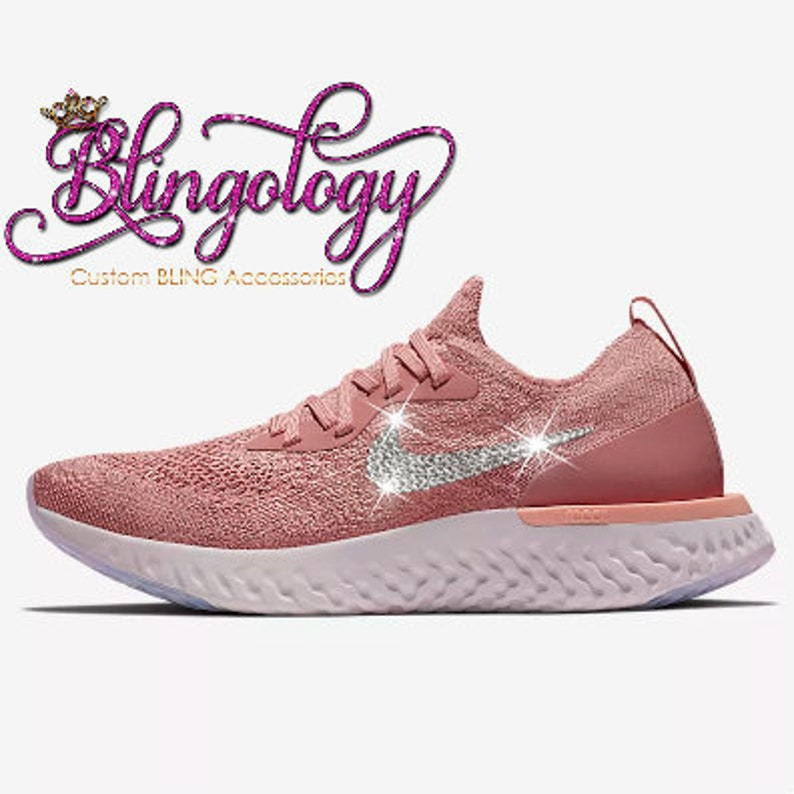 fa04e21ed27a2 Womens Nike Epic React Flyknit Rust Pink Custom Bling