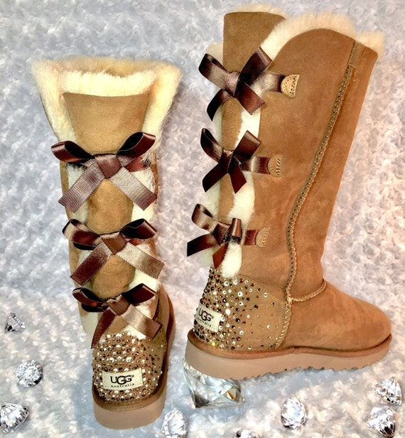 Bling Ugg Tall Bailey Bow Boots, Women's Custom Chestnut Ugg Tall Boots Swarovski Crystal Bling Australian Fur Boots, Snow Boots, Bling