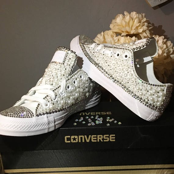 a2eb8fb0368791 Custom Womens White Wedding Converse Bling and Pearls Sneakers