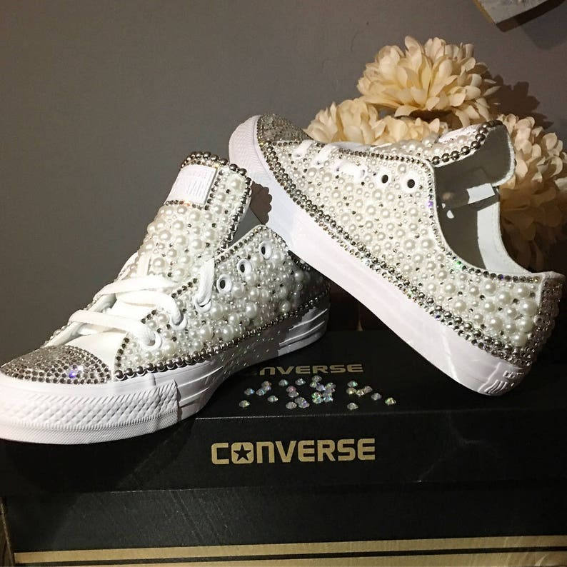 560f5bc741302b Custom Womens White Wedding Converse Bling and Pearls Sneakers