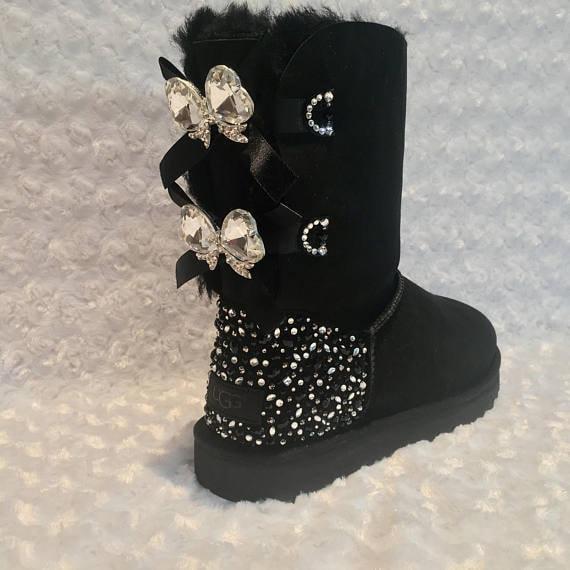 4f9666107 Bling Ugg Bailey Bow II Women's Custom Black Ugg Boots | Etsy