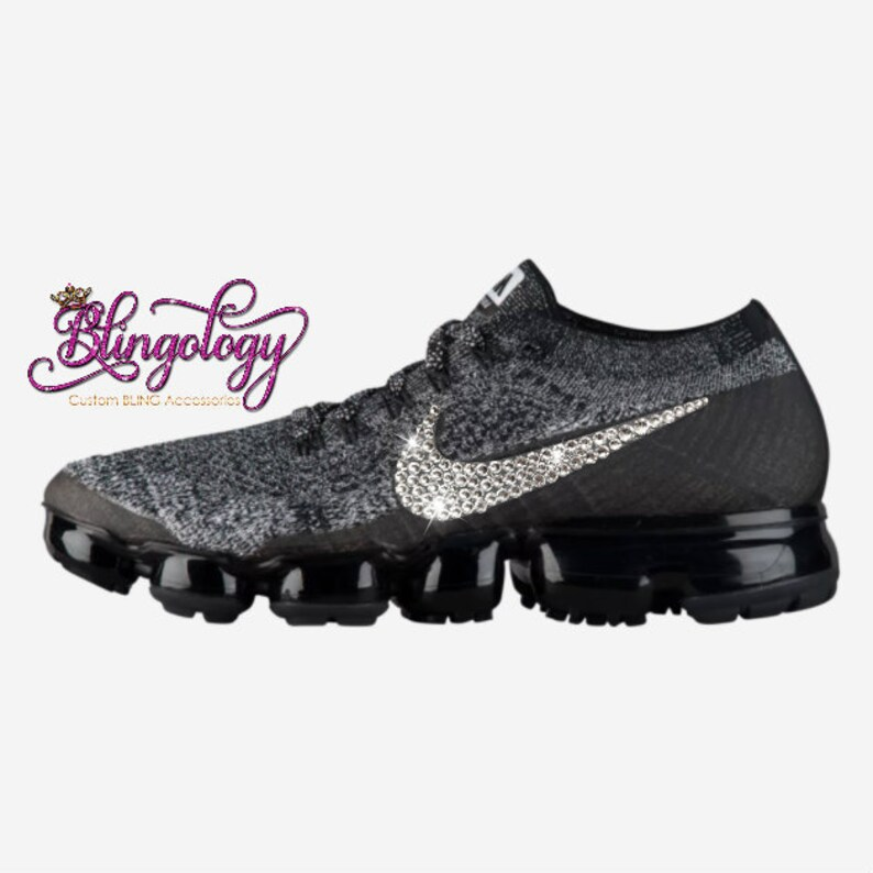 best service e8de9 8d6ef Womens Nike Air VaporMax Flyknit Black/Black/White/Racer Blue Custom Bling  Swarovski Sneakers, Running Shoes, Tennis Shoes