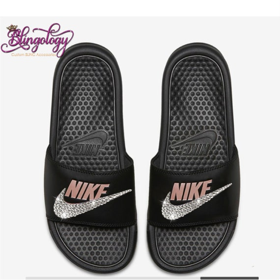 best website 3098e 5e361 Nike Benassi Slides Sandals Black Rose Gold Custom Bling Clear   Etsy