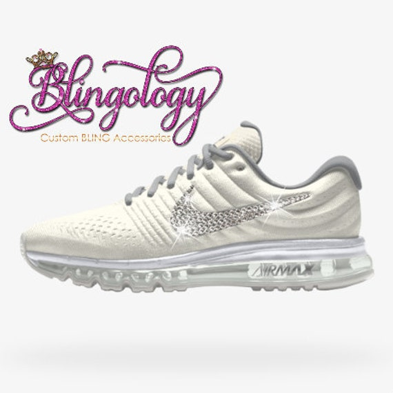 Womens Nike Air Max 2017 iD White Gray Custom Bling Crystal f908982c97c4