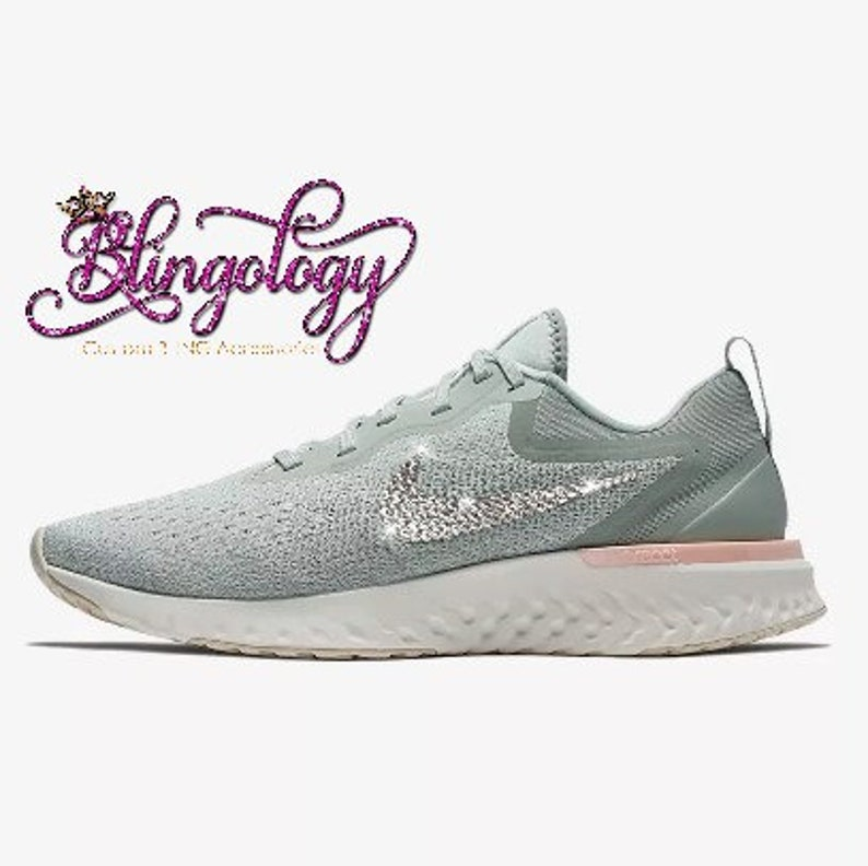 4661a0ad3b0f0 Womens Nike Odyssey React Silver Green Sail Custom Bling