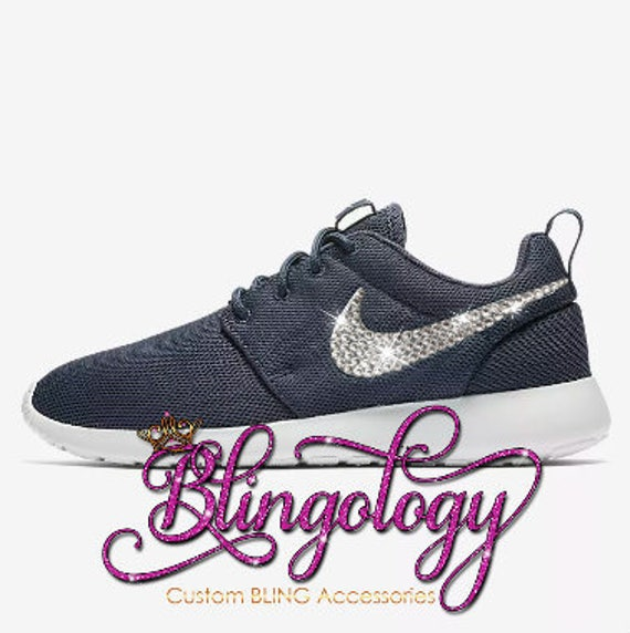 ... Shoes Nike Swarovski Rhinestone Nike Et  the cheapest 0bd95 74728 Womens  Nike Roshe One Thunder Blue White Custom Bling Crysta ... 155efe1d0497