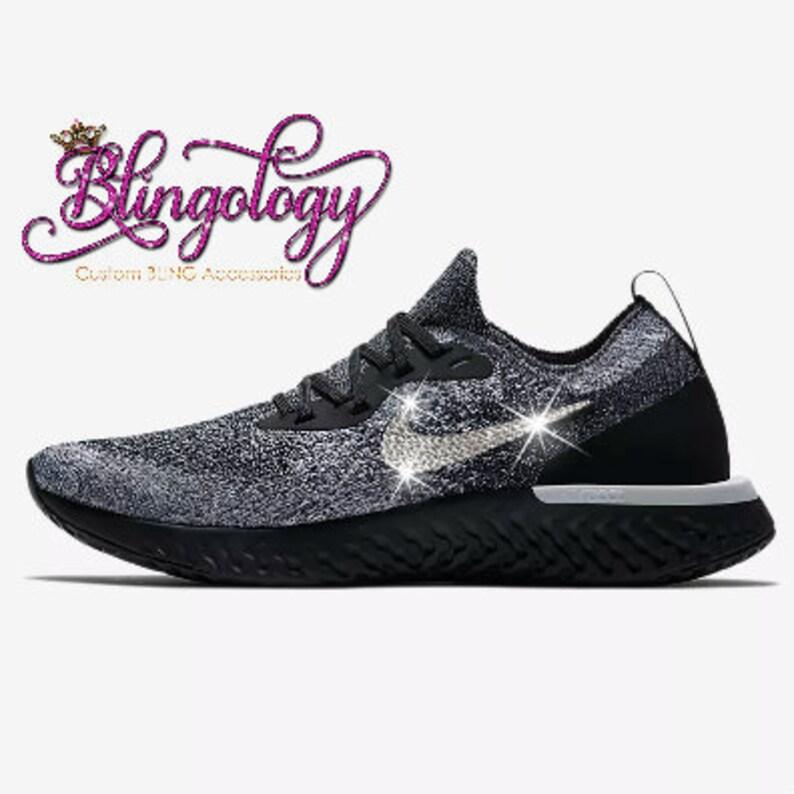 11504b4faa2a Womens Nike Epic React Flyknit Black White Custom Bling