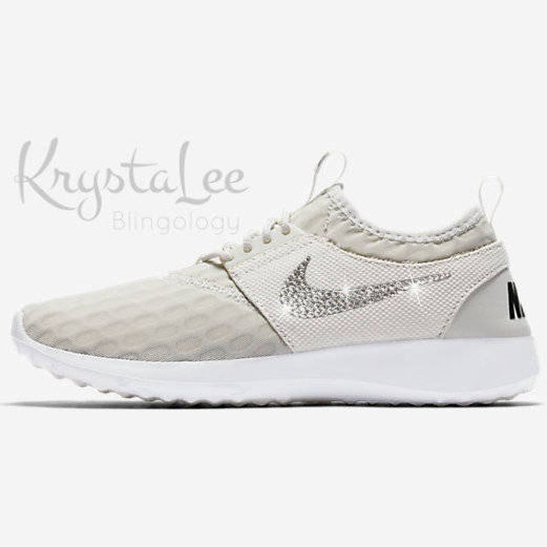 info for 01080 65bfd Custom Bling Womens Nike Juvenate Light Bone White Swarovski   Etsy